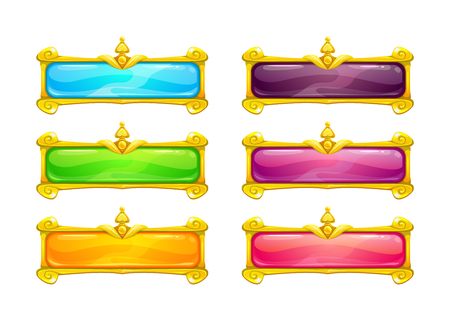 Decorative vector colorful long buttons set.