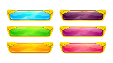 Decorative vector colorful long buttons set.