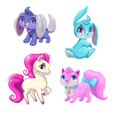 Cute cartoon animals icons set.