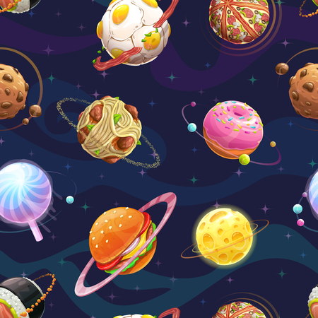 Seamless pattern with cartoon fantasy food planets.