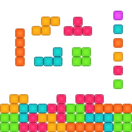 Colorful brick pieces for game design. Tetris blocks set. Vector gui assets.