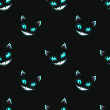 Seamless pattern with disappearing cat faces 일러스트