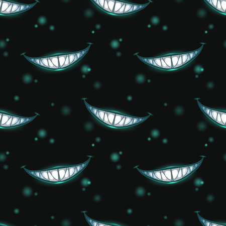 A Seamless pattern with scary monster smiles on a black background Illustration