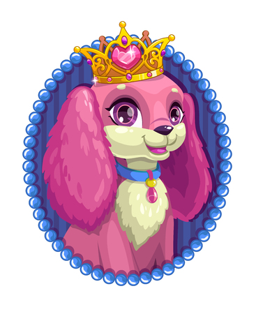 Little cute cartoon fluffy dog portrait with a golden crown inside an oval frame