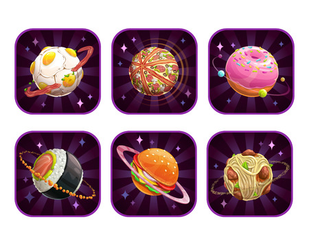 App icons with food planets.