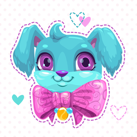 Little cute cartoon blue fluffy puppy face with heart outline on sides