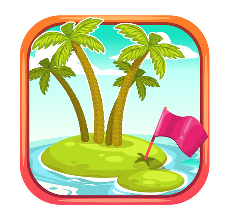 Vector app icon with uninhabited island