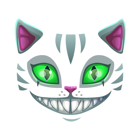 Fantasy scary smiling cat face Illustration