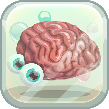 Scary App Icon With Creepy Brain In The Tank Royalty Free Cliparts