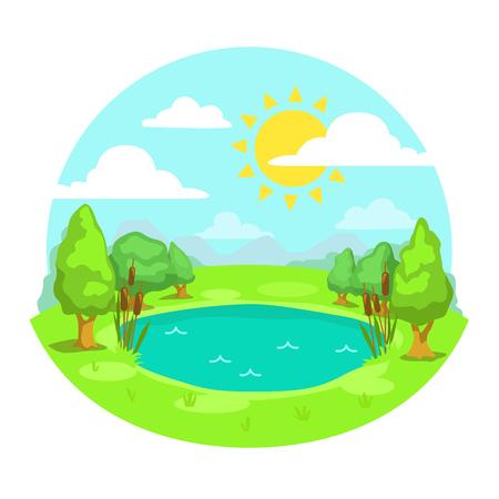 Funny cartoon sunny day landscape illustration.