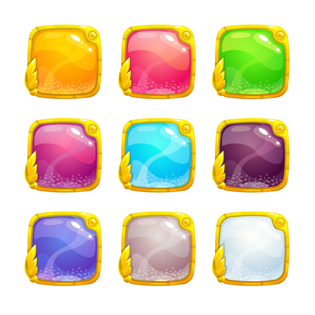 Beautiful colorful square buttons 일러스트