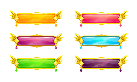 Beautiful colorful long horizontal blank space buttons