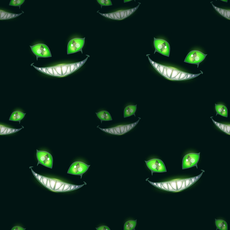 Seamless pattern with scary monster faces