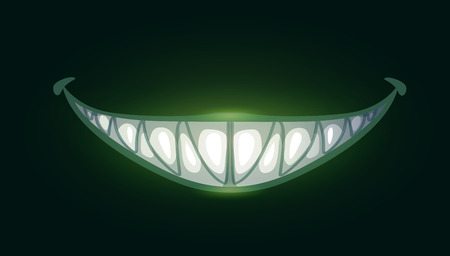 Cartoon scary evil smile with big sharp teeth