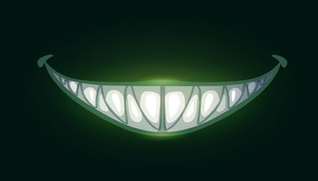 Cartoon scary evil smile with big sharp teeth