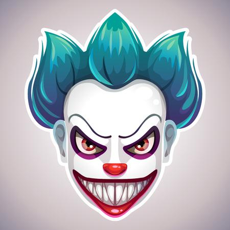 Creepy clown mask. Vector angry Joker head illustration. Ilustração