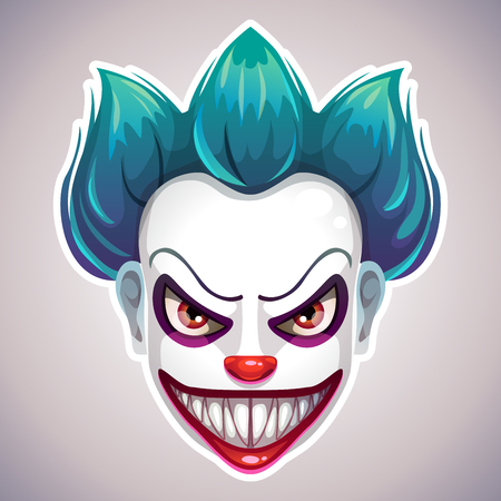 Creepy clown mask. Vector angry Joker head illustration. Vectores