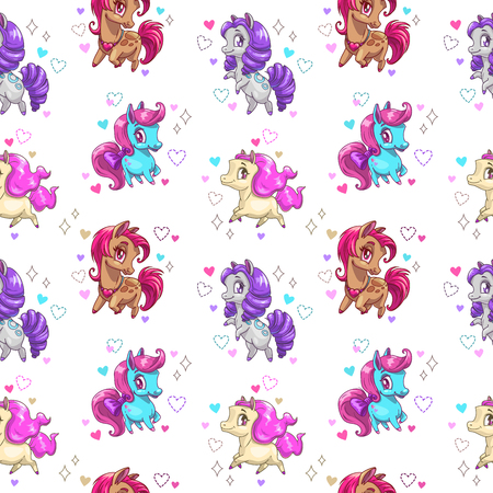 Seamless pattern with cute cartoon pony. Vector texture with little horses.