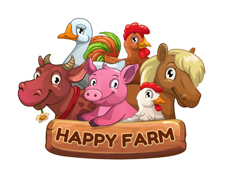 Happy farm title banner for game design. Funny cartoon farm animals with wooden plate. Vector illustration.