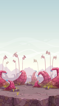 Cartoon fantasy landscape with unusual plants. Vector vertical background for game design.