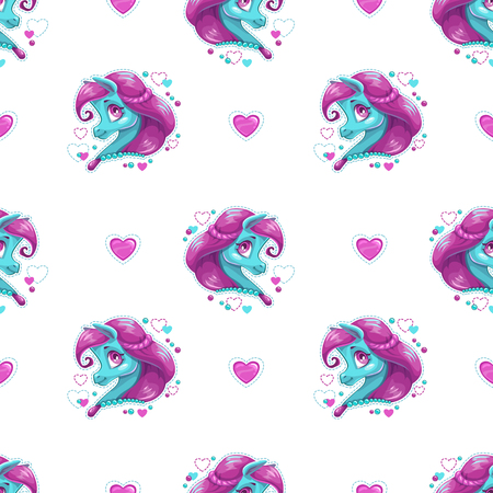 Pattern with cute cartoon pony girl. Vettoriali