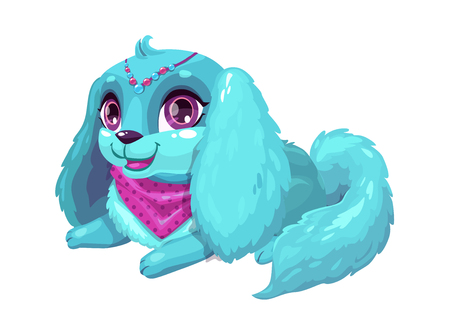 Little cute cartoon blue fluffy puppy  イラスト・ベクター素材