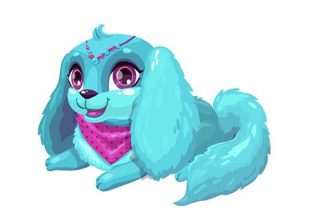 Little cute cartoon blue fluffy puppy 일러스트