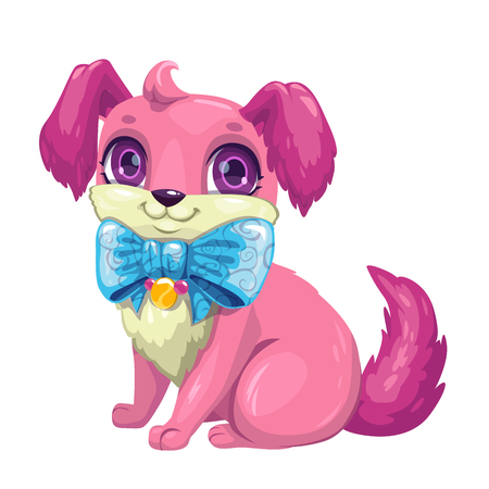 Little cute cartoon fluffy puppy. Иллюстрация