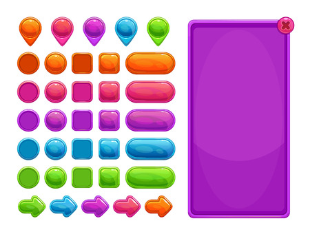 Activos abstractos coloridos lindos para el juego o el diseño web.
