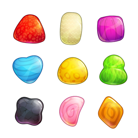 Cute abstract colorful glossy shapes for game or web design. Isolated vector icons on white background.  イラスト・ベクター素材