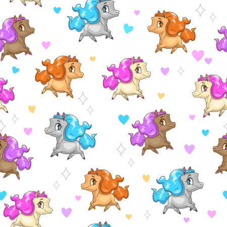 Seamless pattern with cute cartoon horses Vector illustration.