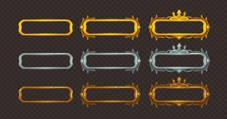 Golden, silver and bronze frames set. Vector assets for web or game design.  イラスト・ベクター素材