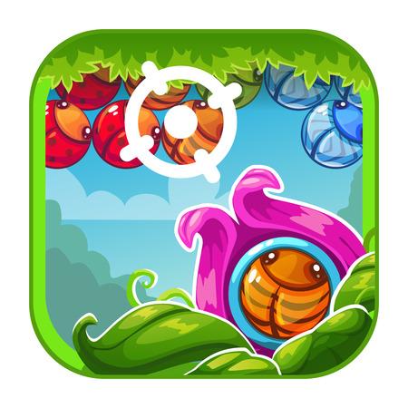 ゲームやウェブデザインのためのシューティングゲームのコンセプトとかわいい漫画の明るいアプリのアイコン。ベクター GUI アセット。  イラスト・ベクター素材