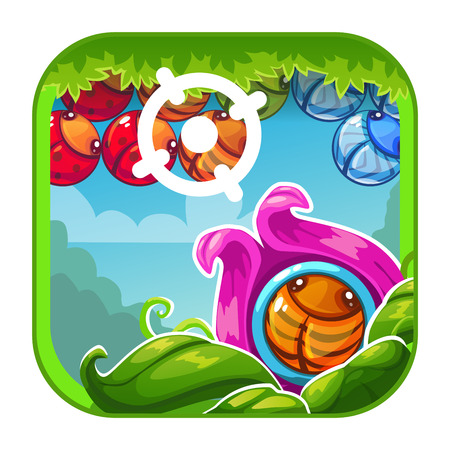Cute cartoon bright app icon with shooter game concept for game or web design. Vector GUI asset. Иллюстрация