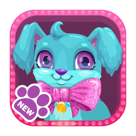 App icon with cute cartoon little blue dog. Vector asset for game or web design. 일러스트