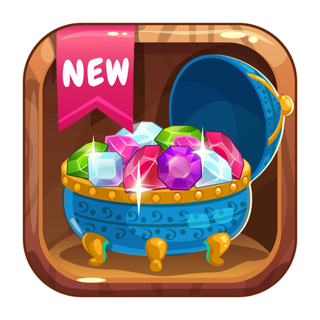 App icon with blue casket of gems. Vector asset for game or web design.
