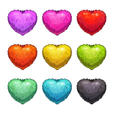 Cute cartoon colorful fluffy hearts