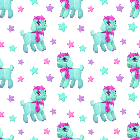 Cute girlish seamless pattern with pretty little baby goat