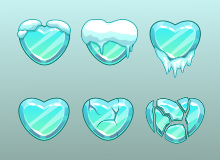 Frozen hearts icons isolated on plain background.