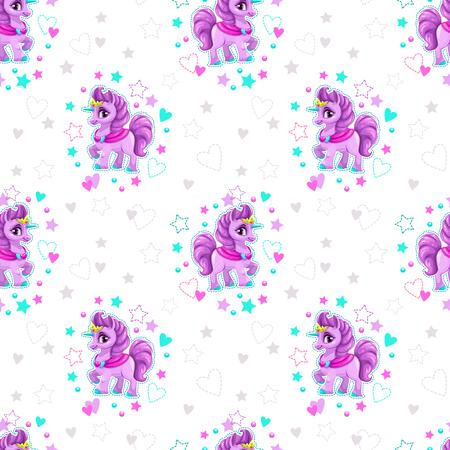 A Seamless pattern with beautiful cartoon little unicorn