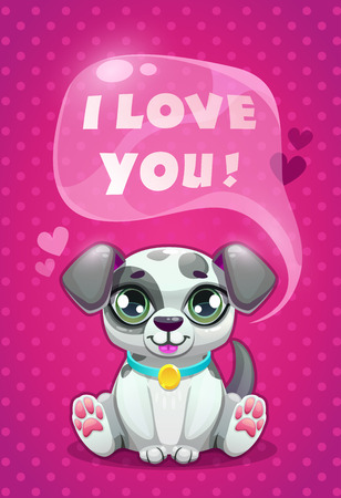 Little cute cartoon sitting dalmatian puppy saying I Love You Vector illustration.