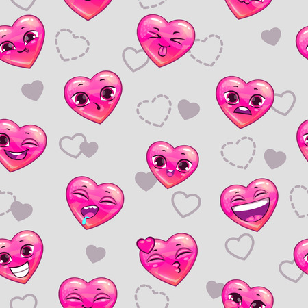 Seamless pattern with funny heart emoji. Vector illustration. Vettoriali