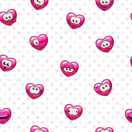 Seamless pattern with funny heart emoji. Vector illustration. Illusztráció
