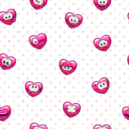 Seamless pattern with funny heart emoji. Vector illustration. Illustration