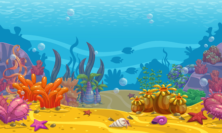 Cartoon seamless underwater background. Vectores