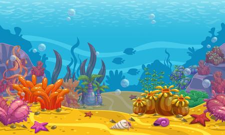 Kreskówka bezszwowe tło podwodne. Ilustracje wektorowe