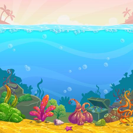 Cartoon underwater background. Vector illustration.