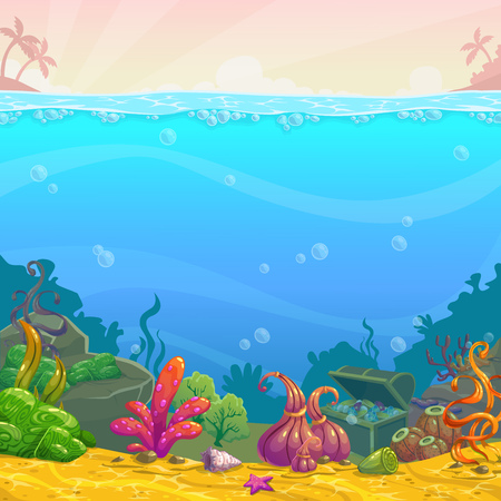 Cartoon underwater background. Vector illustration.