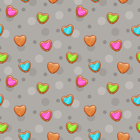 Seamless pattern with cute wooden hearts. Pretty childish texture. Vector illustration Illustration