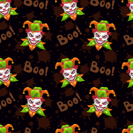 Seamless pattern with scary evil Jokers